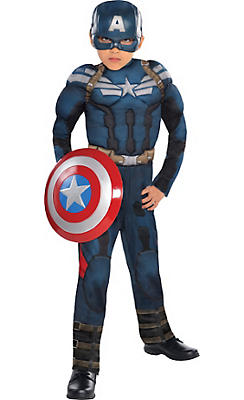Boys Captain America Muscle Costume - Captain America 2