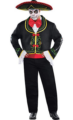 Adult Day of the Dead Sombrero Senor Costume Plus Size