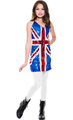 Girls Sequin British Costume