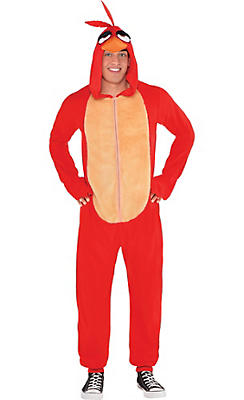 Adult Zipster Red Angry Bird One Piece Costume - The Angry Birds Movie