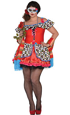 Adult Senorita Sugar Skull Costume Plus Size