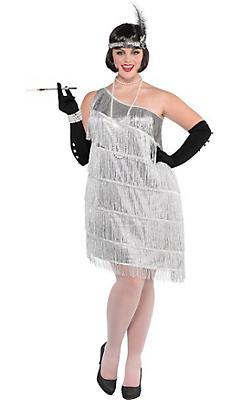 Adult Sparkling Silver Flapper Costume Plus Size