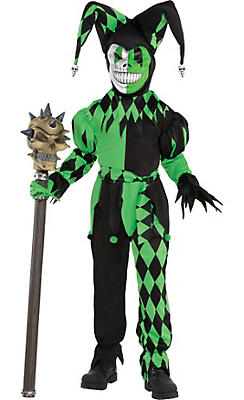 Little Boys Green Wicked Jester Costume
