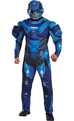 Adult Blue Spartan Muscle Costume - Halo