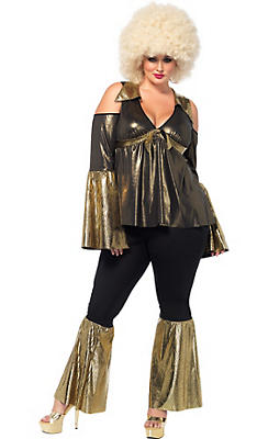Adult Black & Gold Disco Diva Costume Plus Size