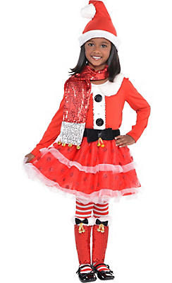 Girls Candy Cane Santa Costume Deluxe