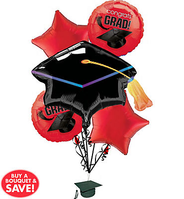 Foil Red Graduation Balloon Bouquet 5pc