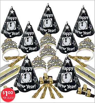 Gold and Silver Countdown New Years <span class=messagesale><br><b>Party Kit For 25</b></br></span>