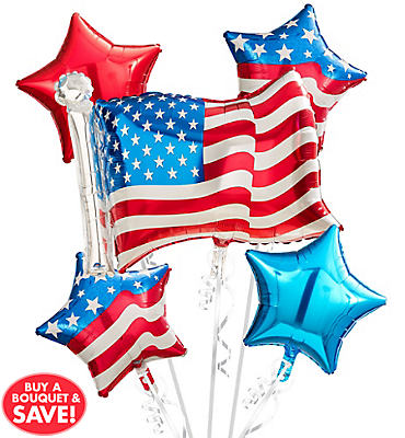 Patriotic Balloon Bouquet 5pc - American Flag