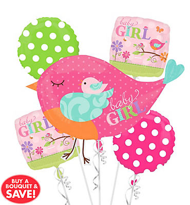 Tweet Baby Girl Balloon Bouquet 5pc