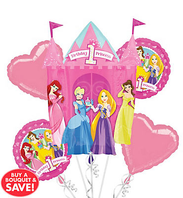 1st Birthday Disney Princess Balloon Bouquet 5pc