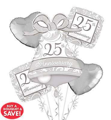 Foil 25th Anniversary Balloon Bouquet 5pc