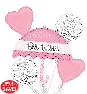 Foil Light Pink Best Wishes Umbrella Balloon Bouquet 5pc