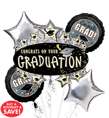 Foil Star Marquee Graduation Balloon Bouquet 5pc