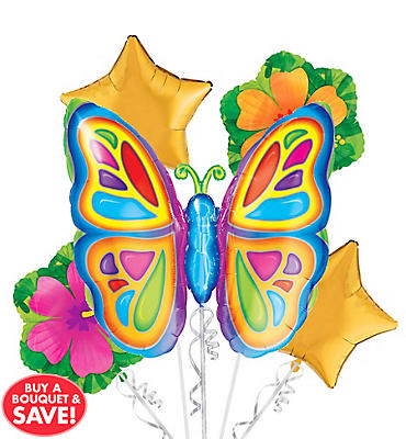 Foil Bright Butterfly Balloon Bouquet 5pc