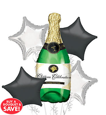 Foil Champagne Bottle Balloon Bouquet 5pc