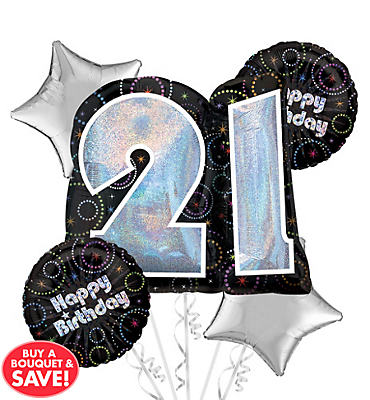 21 Time To Party Balloon Bouquet 5pc