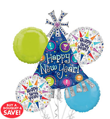New Years Party Hat Balloon Bouquet 5pc