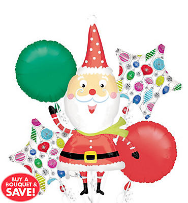 Waving Santa Balloon Bouquet 5pc