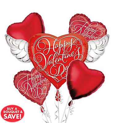 Foil Heart with Wings Valentines Day Balloon Bouquet 5pc