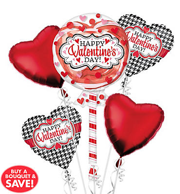 Foil Lollipop Insider Valentines Day Balloon Bouquet 5pc