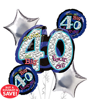 40th Birthday Balloon Bouquet 5pc - Silver Oh No!