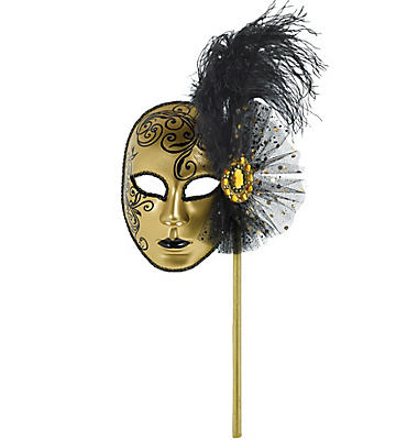 Gold & Black Venetian Mask on a Stick