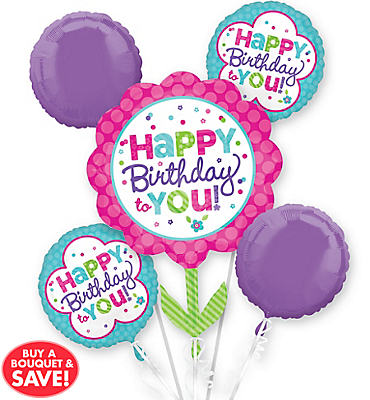 Pastel Birthday Balloon Bouquet 5pc