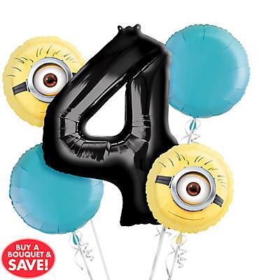 Despicable Me 4th Birthday Balloon Bouquet 5pc