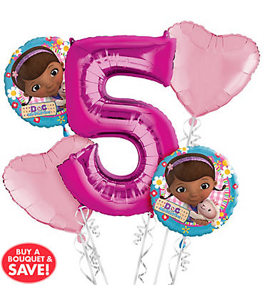 Doc McStuffins 5th Birthday Balloon Bouquet 5pc