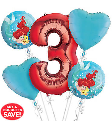 Little Mermaid 3rd Birthday Balloon Bouquet 5pc