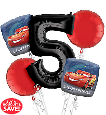 Cars 5th Birthday Balloon Bouquet 5pc