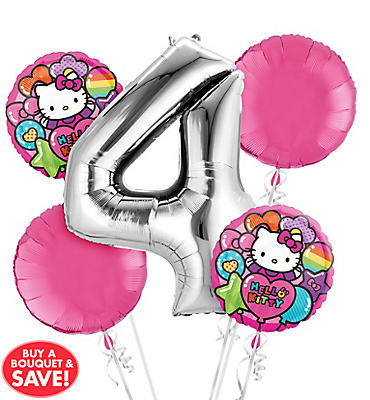Rainbow Hello Kitty 4th Birthday Balloon Bouquet 5pc