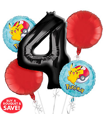Pokemon 4th Birthday Balloon Bouquet 5pc