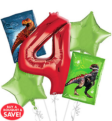 Prehistoric Dinosaurs 4th Birthday Balloon Bouquet 5pc