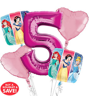 Disney Princess 5th Birthday Balloon Bouquet 5pc