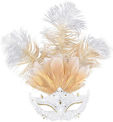 White Filigree & Feather Masquerade Mask