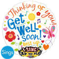 Foil Get Well Soon Singing Balloon 28in