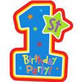 Hugs & Stitches  Boy's 1st Birthday Invitations 8ct