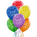 Latex Good Luck Printed Balloons 12in 6ct