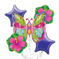 Foil Whimsical Green Garden Butterfly Balloon Bouquet 5pc
