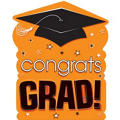 Orange Congrats Grad Cutout 15in