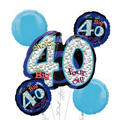 40th Birthday Balloon Bouquet 5pc - Blue Oh No!