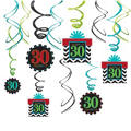Celebrate 30th Birthday Swirl Decorations 12ct