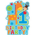 Wild at One Boy's 1st Birthday Invitations 8ct