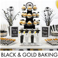 Black, Gold & Silver Graduation Baking Supplies