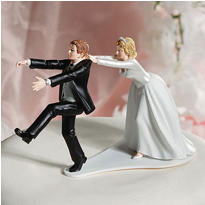 Comical Bride and Groom Wedding Cake Topper