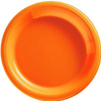 Orange Plastic Dinner Plates 20ct
