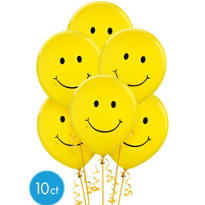 Smiley Face Latex Balloons 12in 10ct
