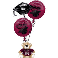 Foil Burgundy Graduation Balloon Bouquet 3pc with Bear